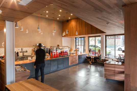 A cafe with redwood and copper.  Design Mill Valley, CA [w/ previous architectural practice]