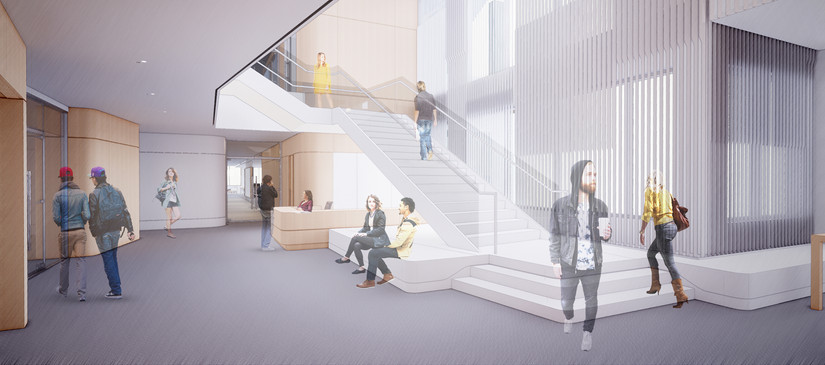 A lobby with unifying stair.  Concept Design California