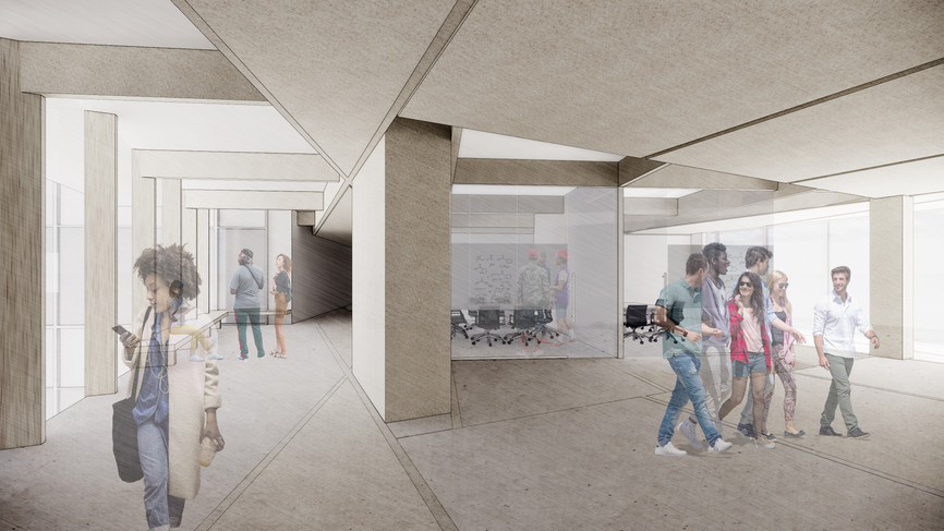 A collaborative 'Splice' space for an Engineering and Chemistry program, located at the building heart.  Schematic Design San Francisco, CA