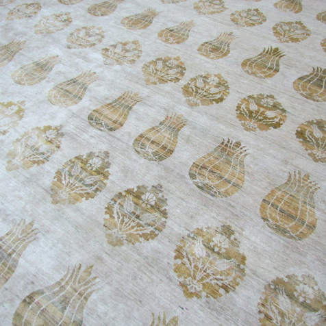 Custom Transitional Ikat Beige & Gold Rug