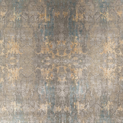Grey, Gold, Light blue Inkblot Rug