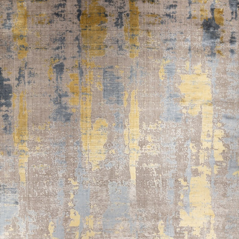 Tan, Gold, Navy Abstract Rug
