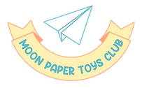 Logo for Moon Paper Toys Club with a Paper Plane and Banner