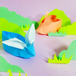 3 coelhinhos e 1 galinha de origami para fazer com as crianças e decorar sua caça aos ovos!