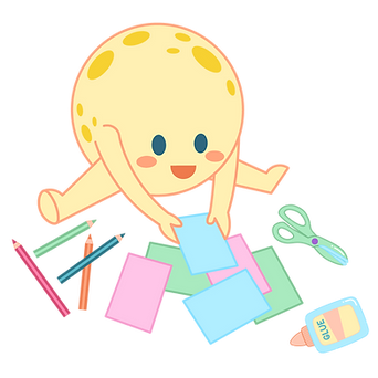Kids Character Illustration for Moon Paper Toys Illustration: DIY subscription for kids