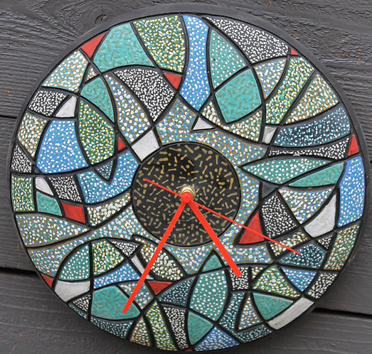 "Blue Fish Red Hands 13"" D Wall Clock SOLD"