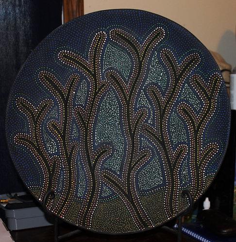 """Bluegrass Platter, 21"""" diameter, cone 3, 2019"""