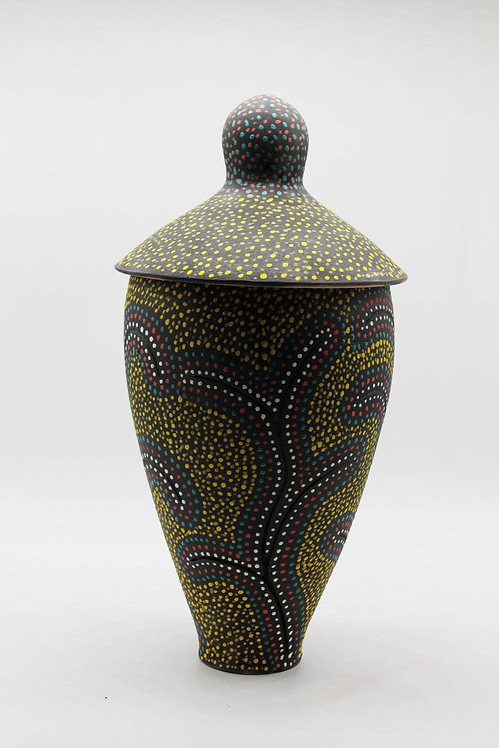 "13"" Tall Lidded Jar with dot patterns. Fired to cone 3-SOLD"