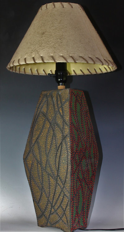 4color sided ceramic lamp with 3 way bulb