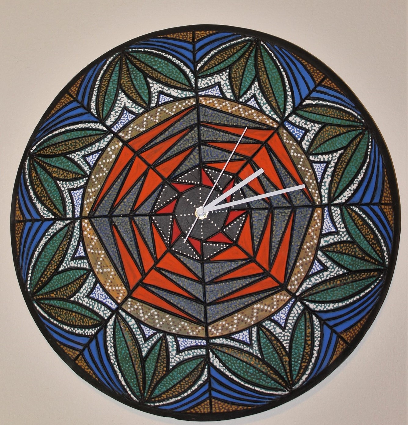 20inch diameter Wall Clock ceramic art $180