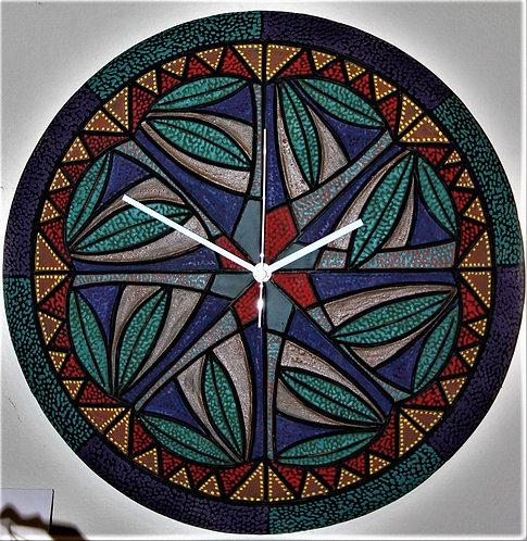 """My New Mexico"" 16"" D ceramic art wall clock"