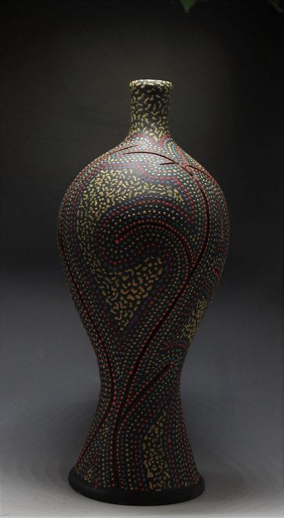 redline ceramic art bottle