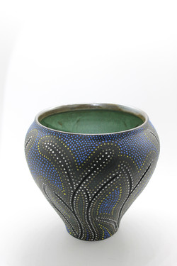 "Blue Dot Vase Form 9"" Tall x 9"" D-$55"