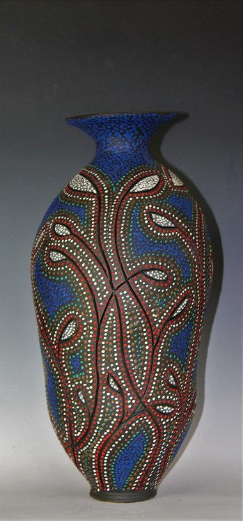 Titled blue dot bottle/vase