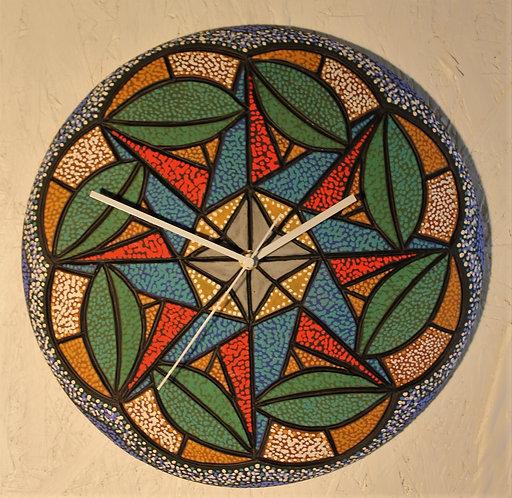 "Green Pods ceramic wall clock 13""D"