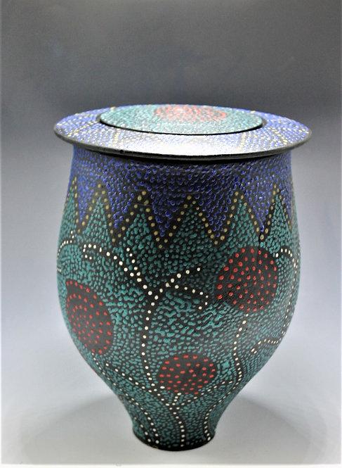 "10"" Blue/green with folk art pattern"