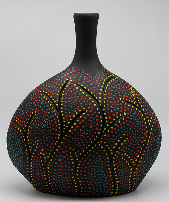 """Modern Bottle, 14"""" tall, Fired to cone 1, 2019"""