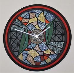 "Red Stripe Tire Wall Clock, 16"" D"
