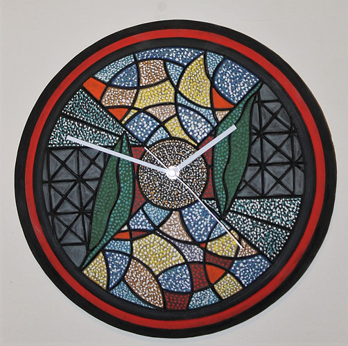 Red Stripe Tire Wall Clock