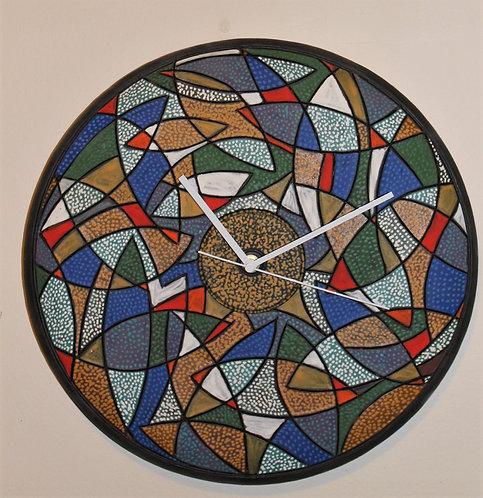 "multi pattern design, wall clock, 15"" D"