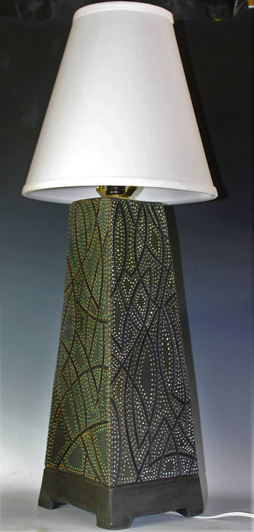 """27"""" Tall ceramic lamp with each side a different base color"""