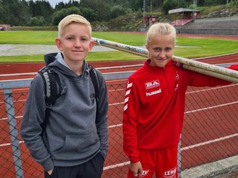 Aksel og Jennie på Kretslaget i friidrett