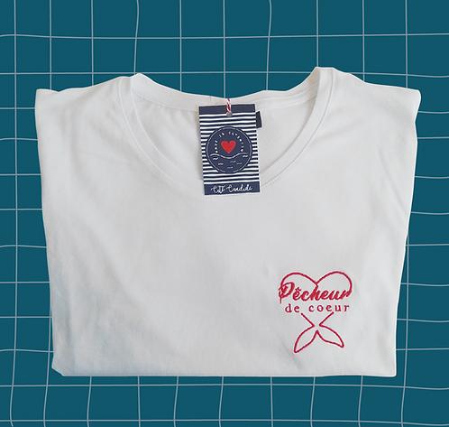 T-shirt homme brodé Pêcheur de coeur