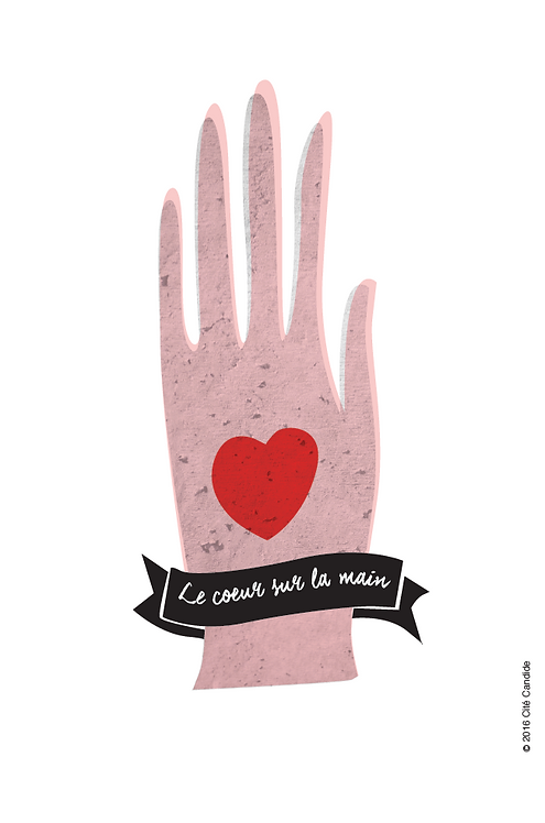 Carte Le coeur sur la main