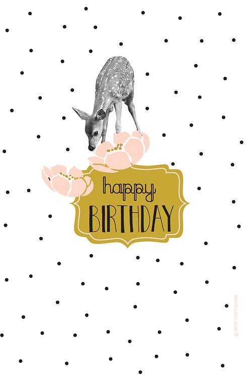 Carte Happy Birthday Biche