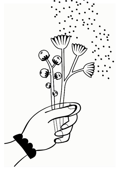 """Cartes à planter """"fleurs à la main"""""""