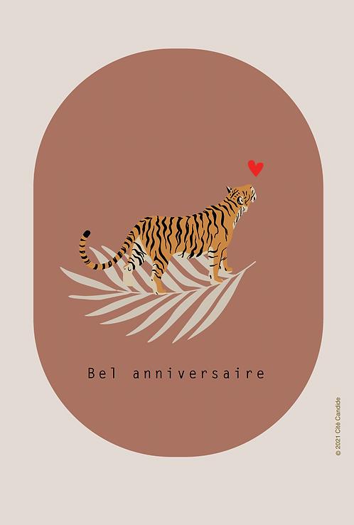 Carte bel anniversaire Tigre