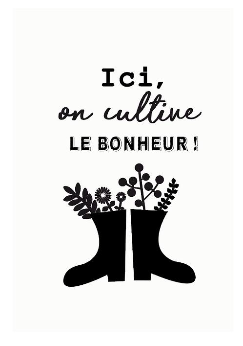 """Carte à planter """"Ici on cultive le bonheur"""""""