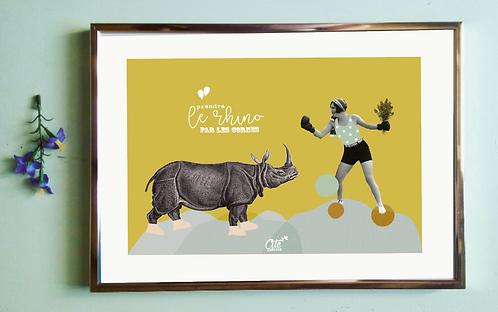 """Affiche """"Prendre le rhino"""""""