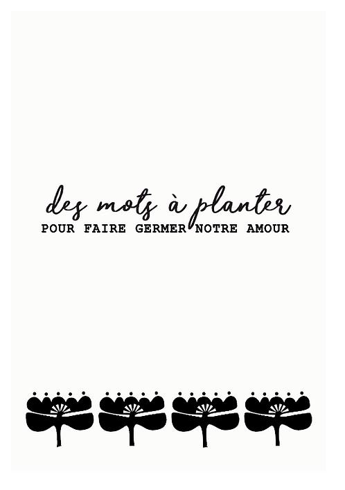 """Carte à planter """" Des mots à planter..."""""""