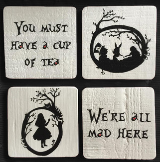'Alice Tea' hand painted wooden coasters