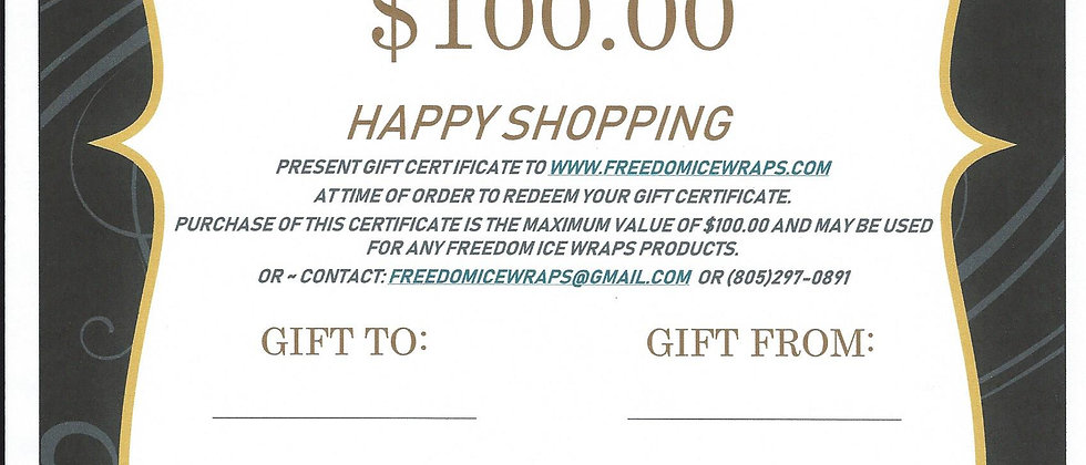 $100 GIFT CERTIFICATE - Happy Shopping