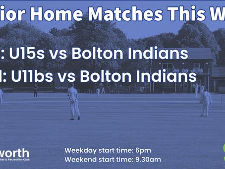 Home Junior Fixtures this week