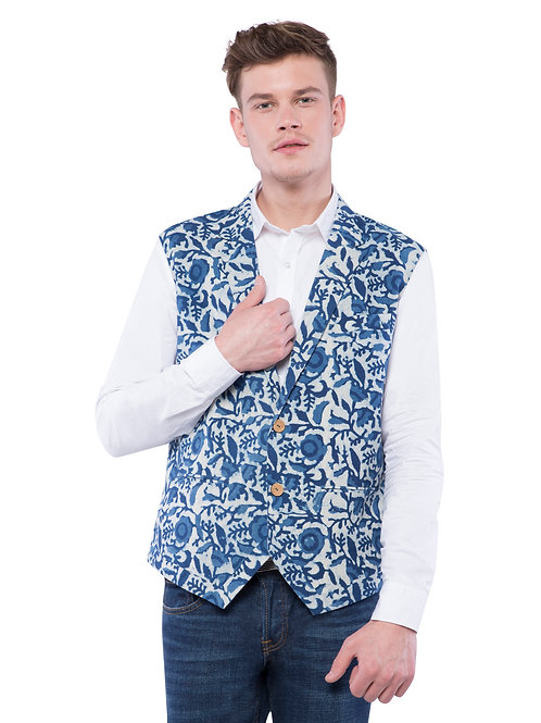 Nishat Floral Vest Jacket - Indigo