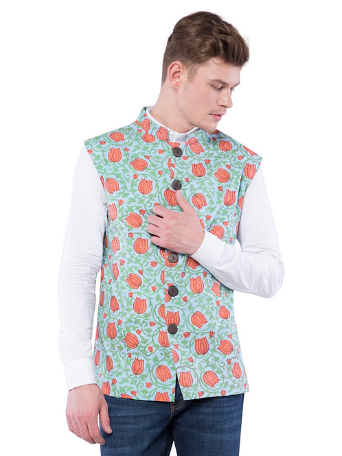Nishat Lotus Nehru Jacket - Multicolored