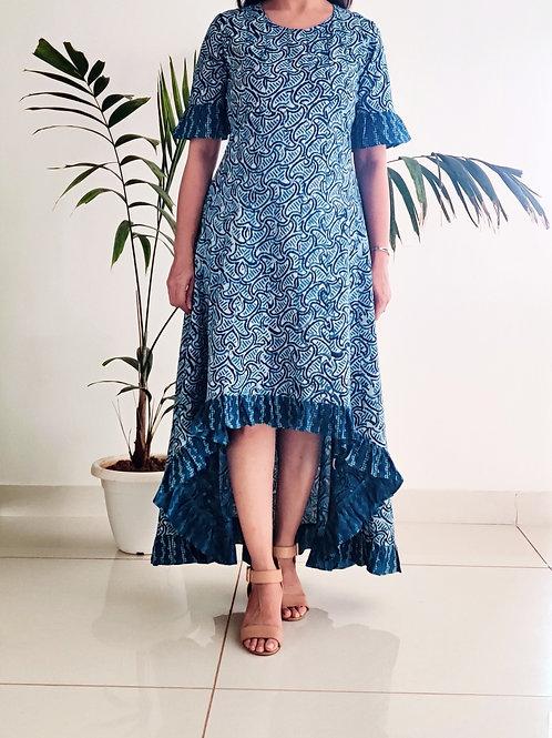 Bottom Ruffle Dress - Indigo
