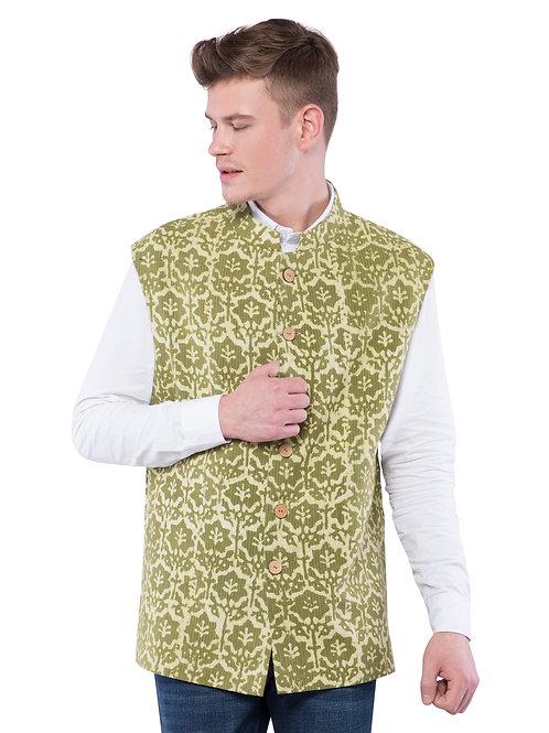 Nishat Kantha Nehru Jacket - Green
