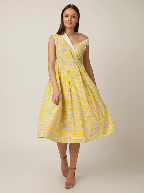 PAKHI ONE SIDE OFF SHOULDER DRESS - YELLOW