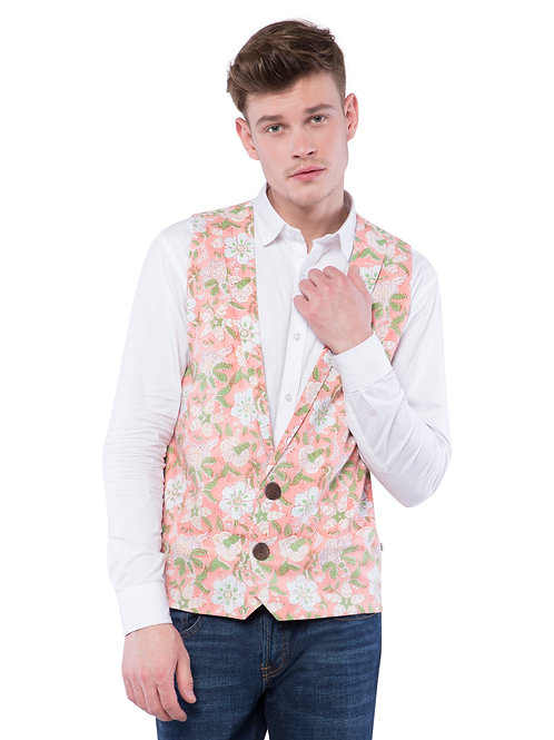 Nishat Floral Two Button Jacket - Peach
