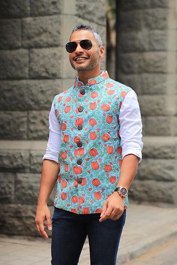Blue Block Print Jacket for Men
