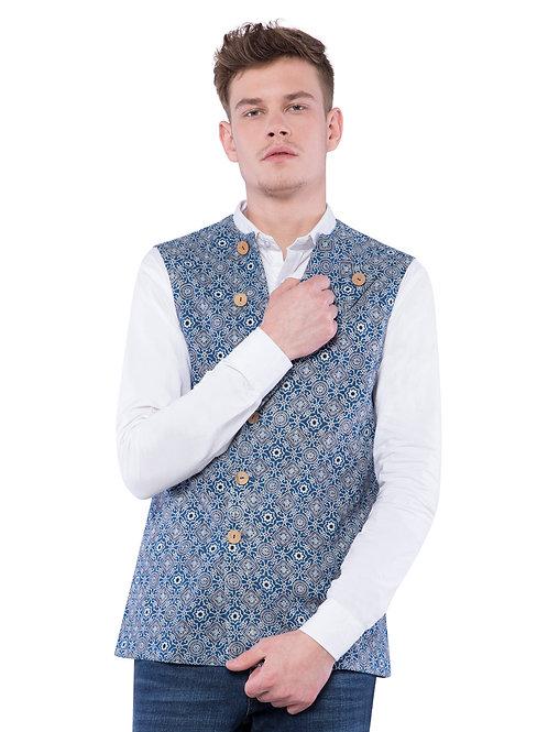 Nishat Ajrakh Bandi Jacket - Blue