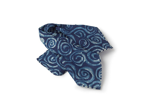 Indigo Block Printed Pocket Square