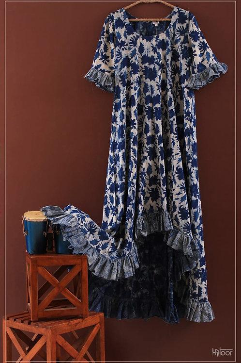 Bottom Ruffle Dress - Marble Indigo