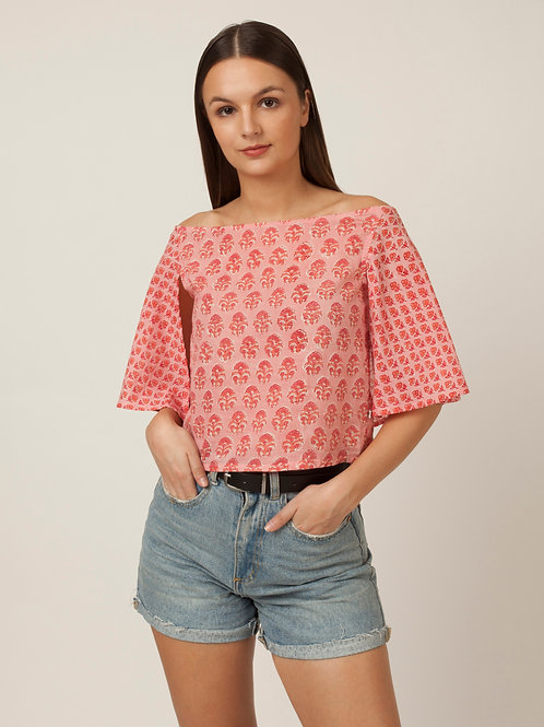 PAKHI OFF SHOULDER CAPE TOP - PINK