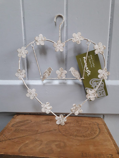 Cream Heart with Birds on a Swing