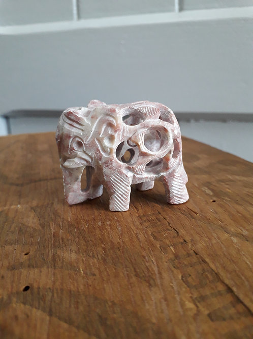 Hand Carved Elephant with Baby